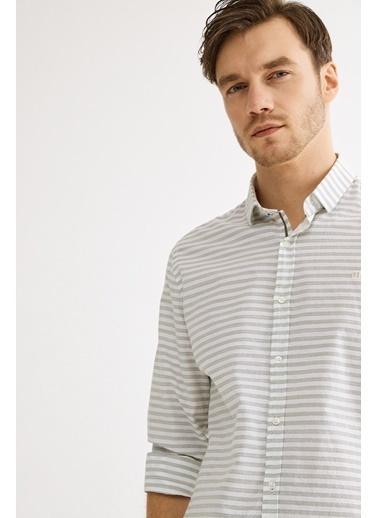 Avva Erkek  Çizgili Klasik Yaka Slim Fit Gömlek A01Y2016 Yeşil